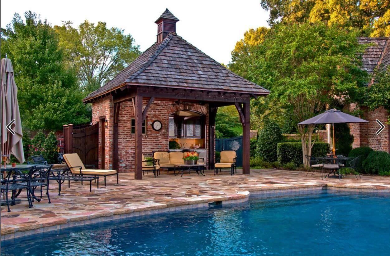 Brick style pool house design ideas