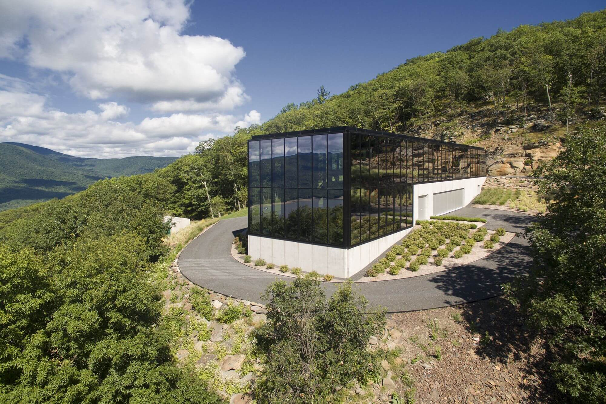 exterior of glass box house