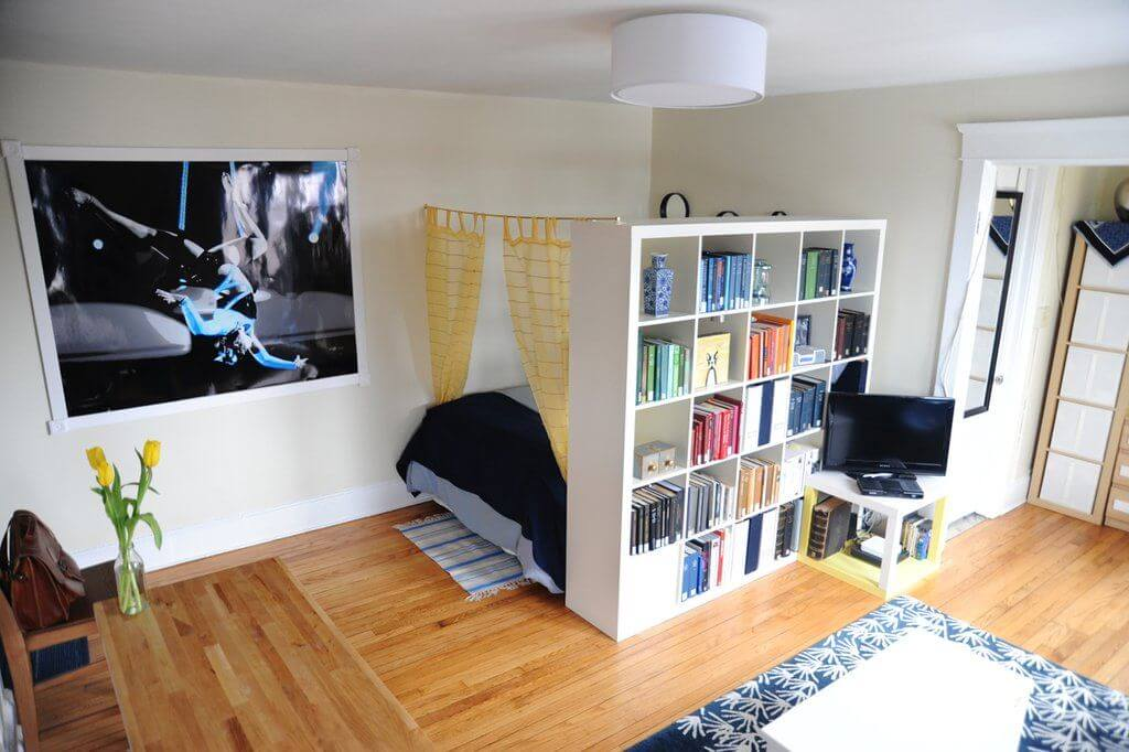 book shelves as a room divider
