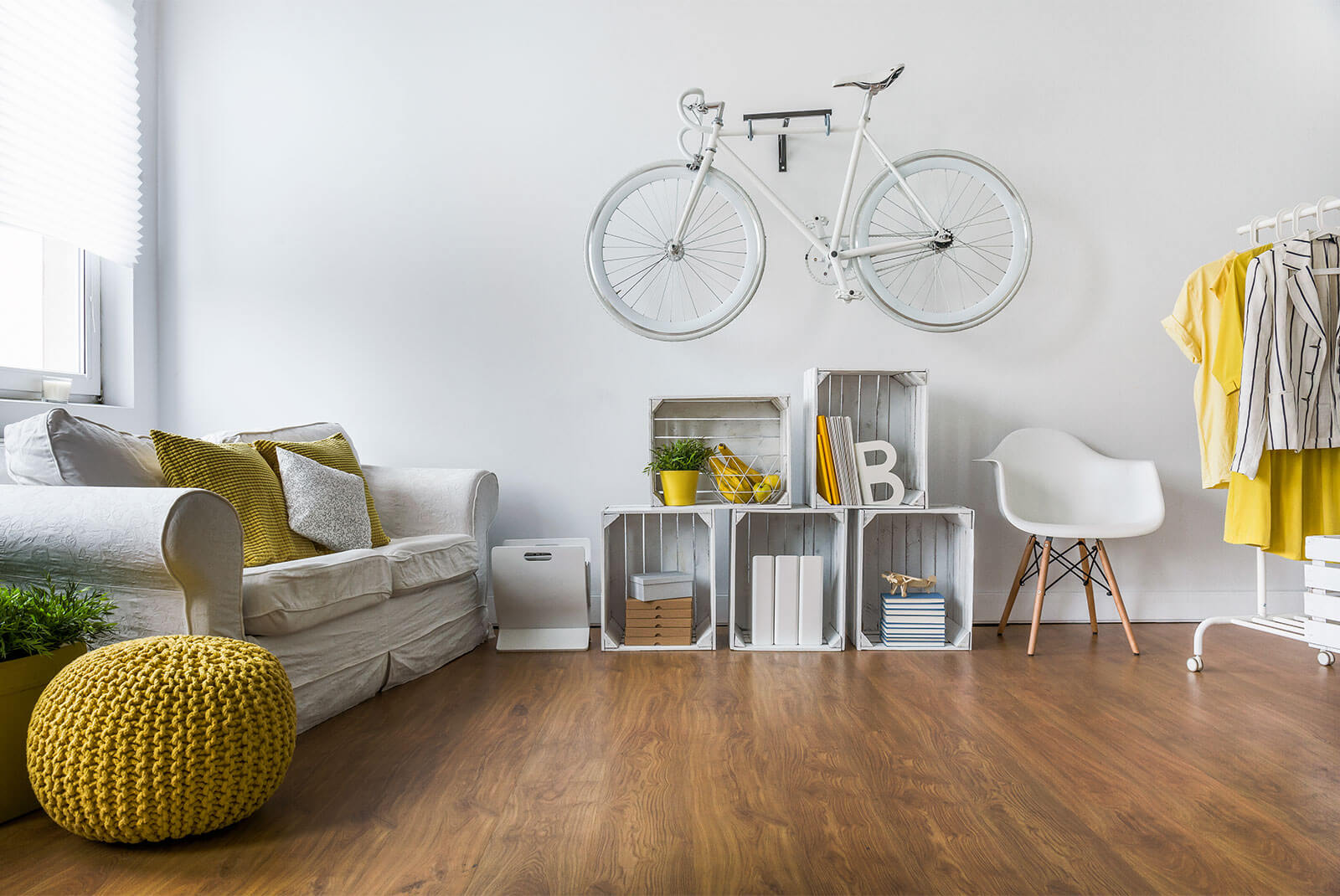 bike in studio apartment