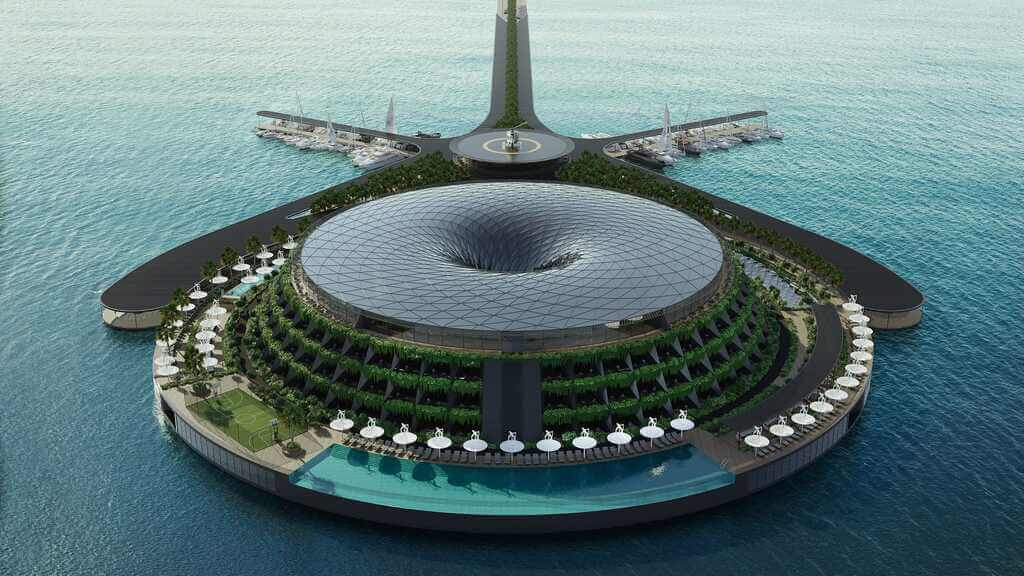 Eco-Floating Hotel: A Hotel that Revolves to Generate Electricity!