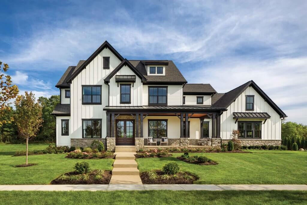 white brick house with black trim