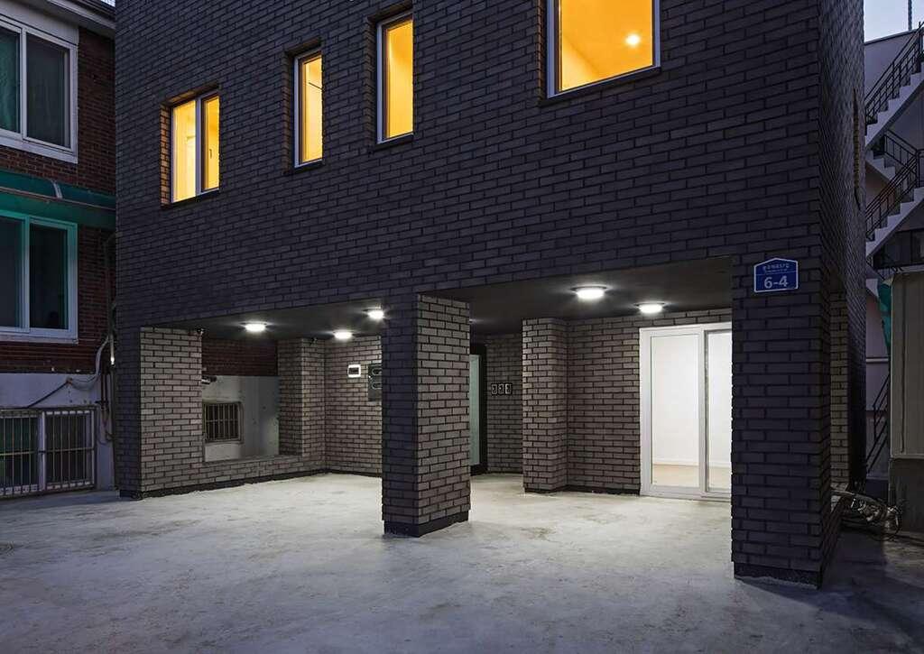 modern black brick house